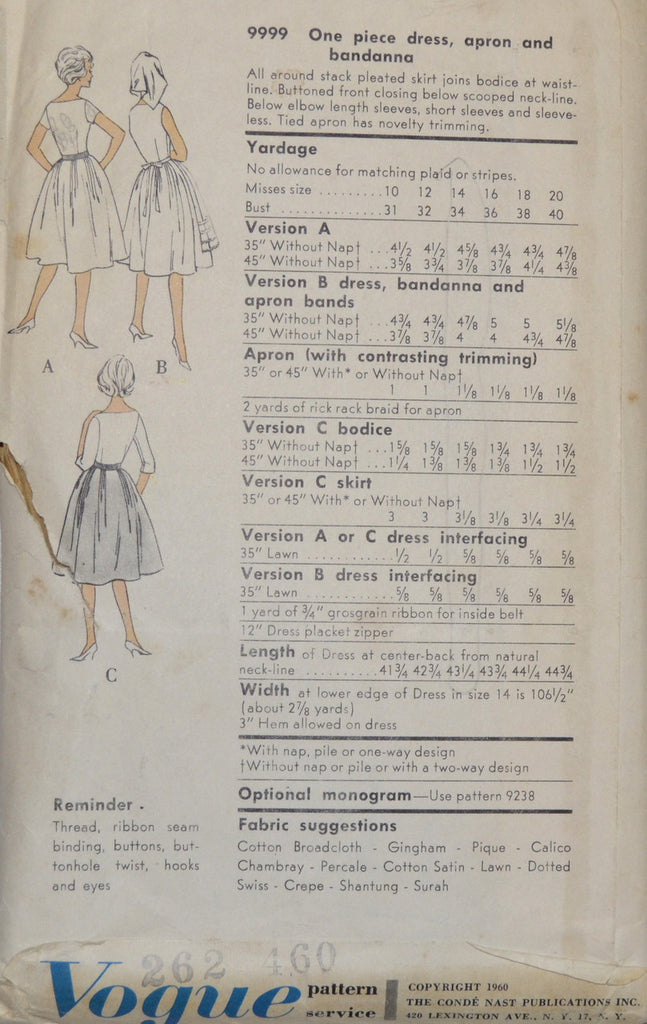 Vogue 9999 vintage pattern dress and apron