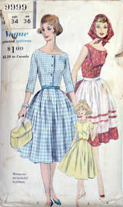 1950s Vogue 9999 Vintage Dress Apron and Kerchief Pattern 34B SOLD - Dressing Vintage