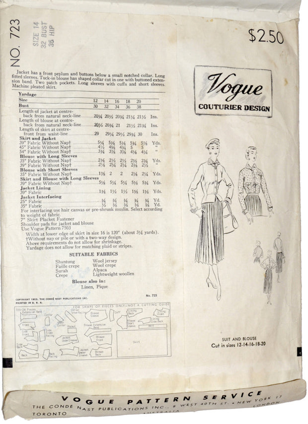 Vogue Couturier 723 vintage pattern 1953 rare sewing collectible 32B - Dressing Vintage