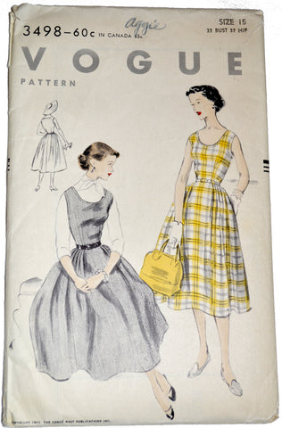 Vintage Vogue 3498 1950s jumper dress pattern UNCUT 33B - Dressing Vintage