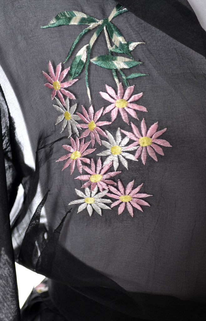 pink flowers embroidered vintage dress