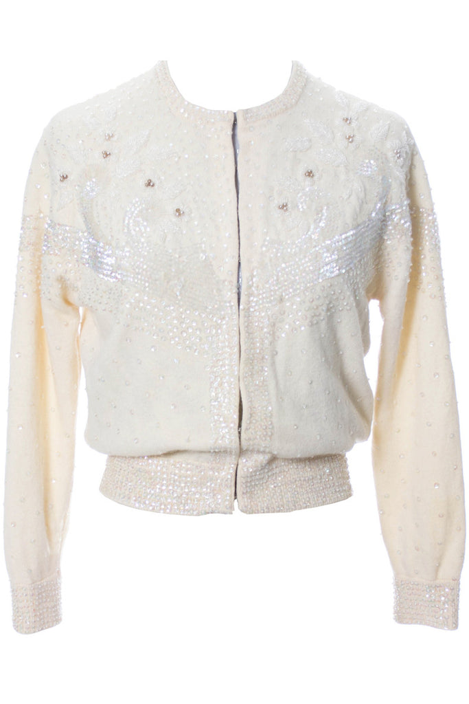 Beaded winter white vintage wool sweater