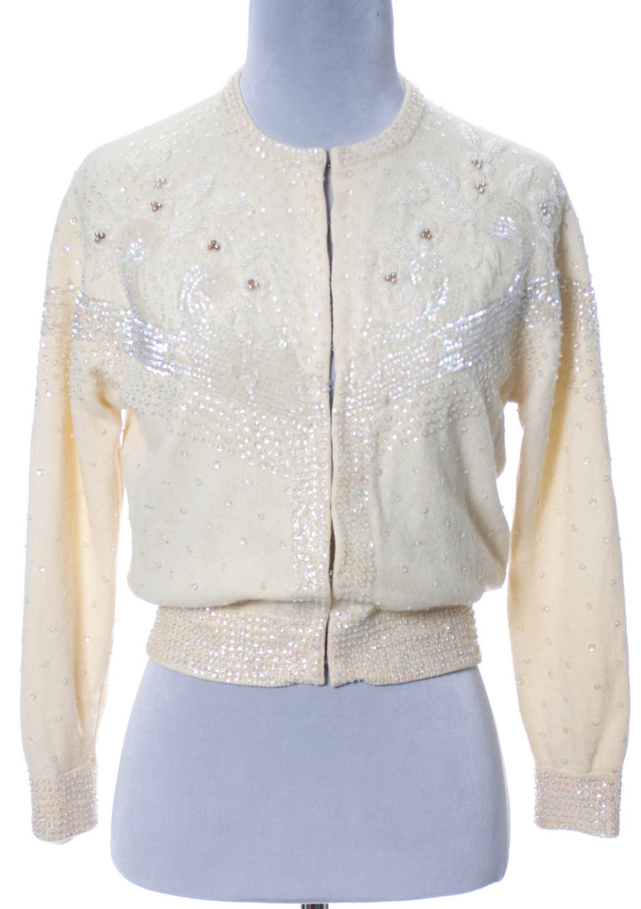 Winter white vintage ladies beaded sweater