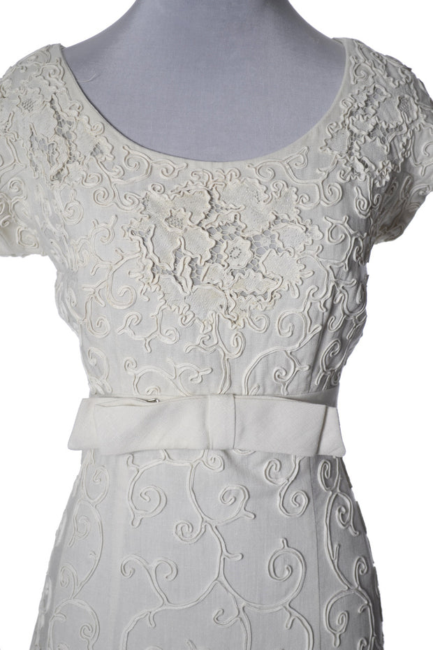 vintage linen lace Jerry Parnis dress