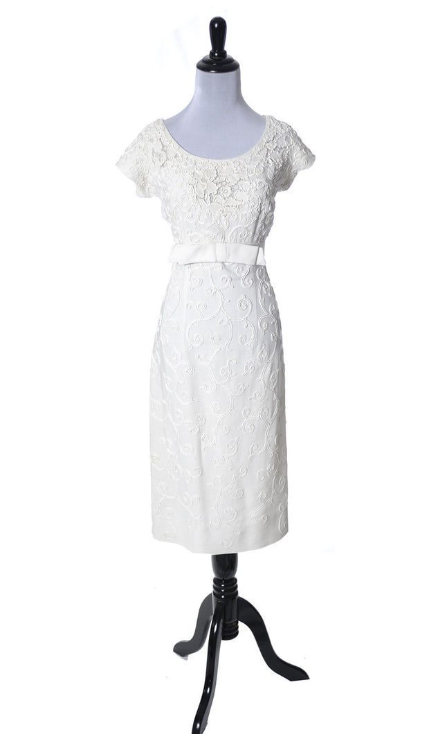 Jerry Parnis vintage linen lace dress