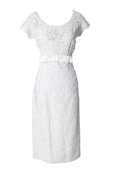 Jerry Parnis lace and linen white vintage dress