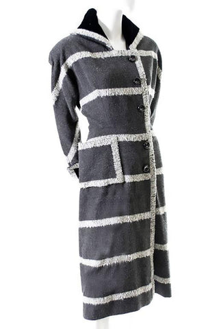 Vintage Gray Mohair Opera Coat Dress Size 8
