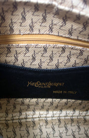 Vintage Handbag Yves Saint Laurent navy leather shoulder bag - Dressing Vintage