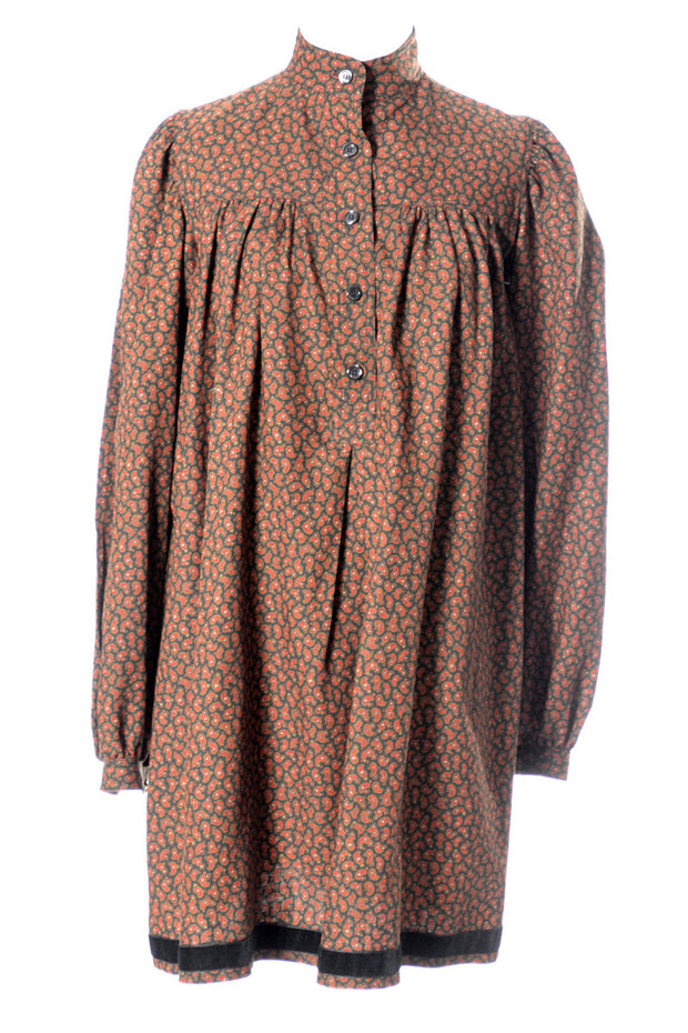1970's YSL Vintage Dress Paisley Russian Peasant Style by Yves Saint Laurent - Dressing Vintage
