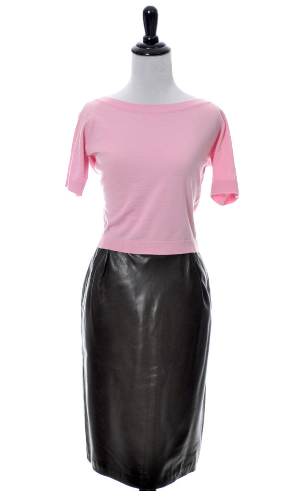 1970s MINT Yves Saint Laurent Rive Gauche Brown Leather Vintage Skirt - Dressing Vintage