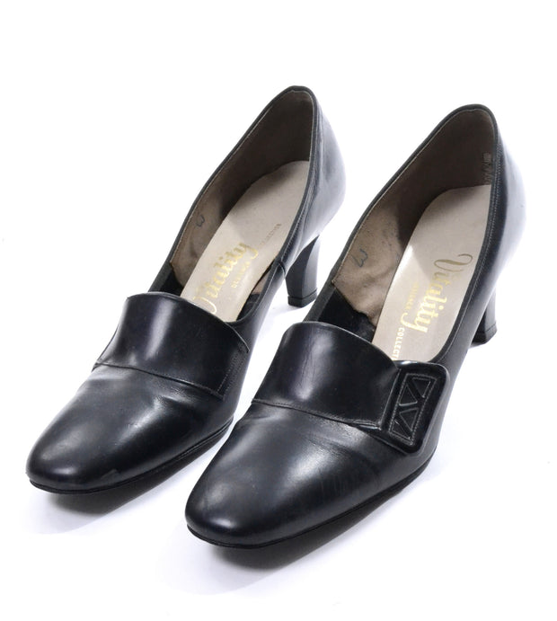 1950's Vitality Designer Collection Black Leather Oxford Heels Size 10 N - Dressing Vintage