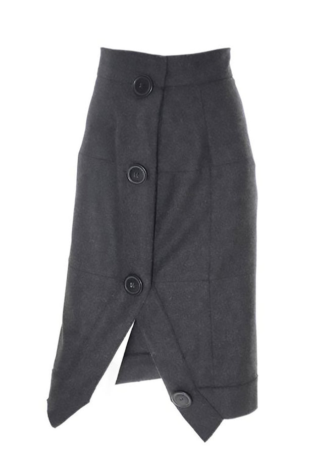 Vivienne Westwood Anglomania Gray Wool Avant Garde Skirt with Asymetrical Seams and Large Buttons