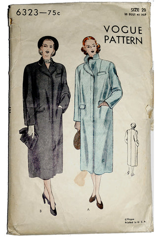 1950 Vintage Coat Pattern Vogue 6323