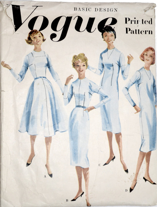 Vogue 3001 vintage basic designs 50s dresses pattern 31.5B - Dressing Vintage
