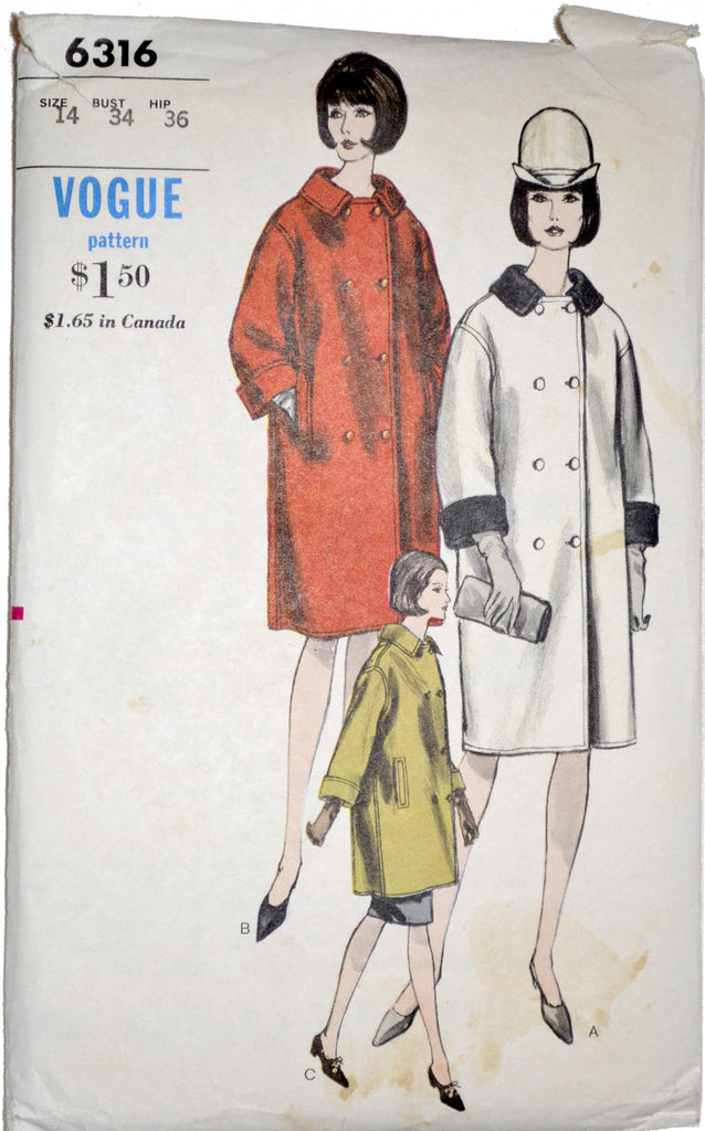1960 mod vintage coat pattern Vogue 6316
