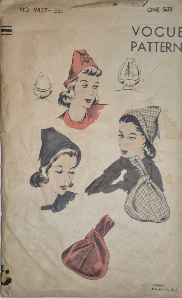 Vogue Vintage pattern 9837 hats