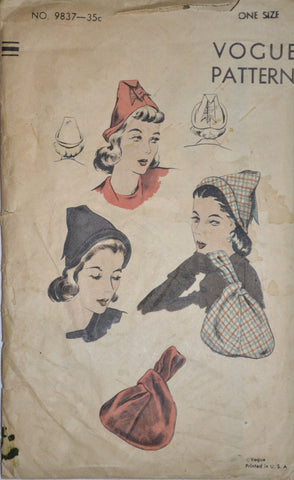 Vintage Vogue hat pattern 9837 1940s hats and handbags - Dressing Vintage