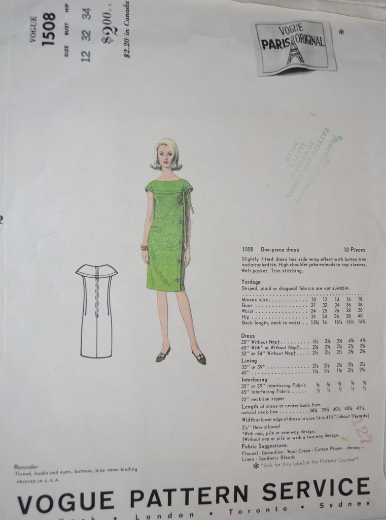 Vogue Paris Original 1508 dress pattern Pierre Cardin