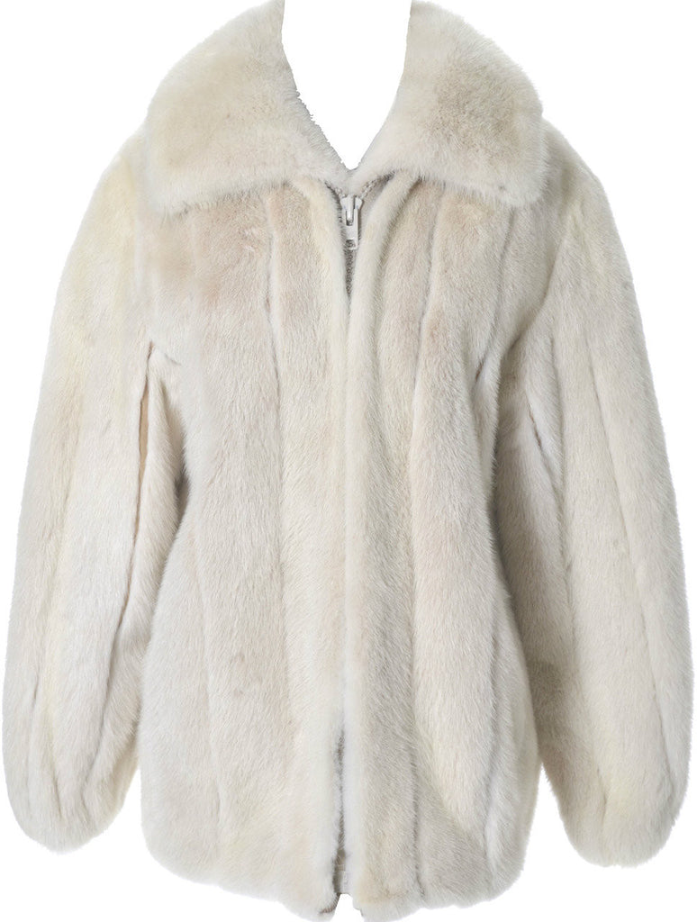 Wachtenheim fur mink coat jacket Pearl white