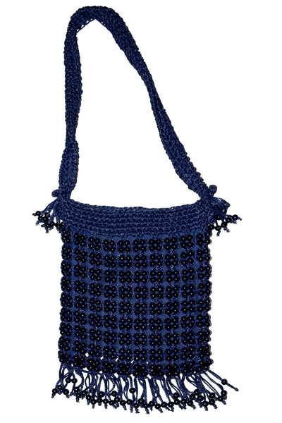 Blue Beaded Shoulder Bag Walborg fringe vintage handbag - Dressing Vintage