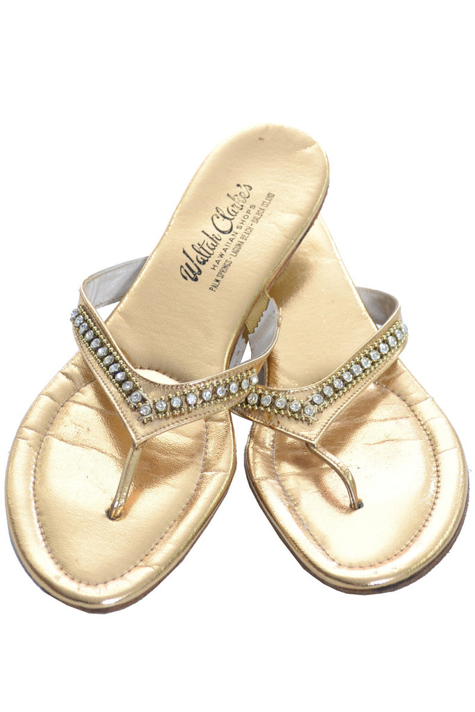 Waltah Clarke Hawaiian shop vintage gold sandals