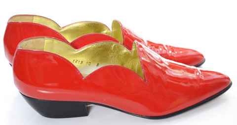 Amazing Vintage Walter Steiger Red Patent Leather Shoes Size 10 - Dressing Vintage