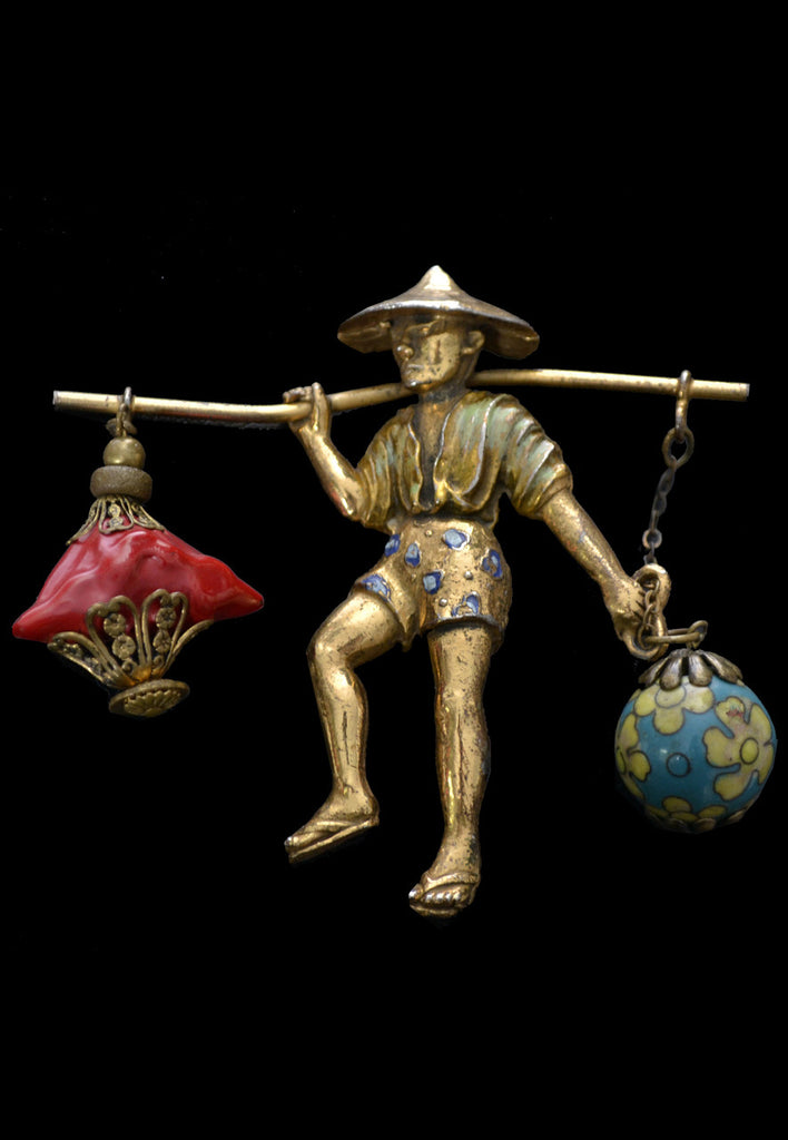 Rice Weiner vintage Chinese Water Carrier Brooch cloisonne