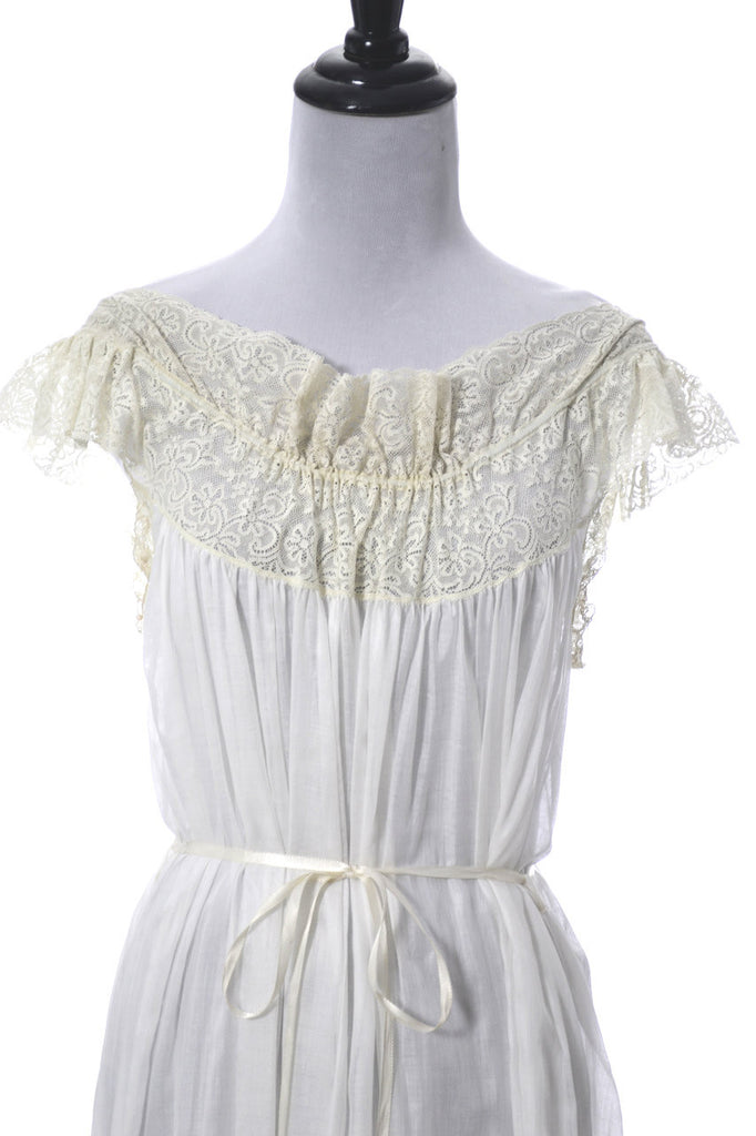 Vintage Iris lingerie sheer cotton nightgown