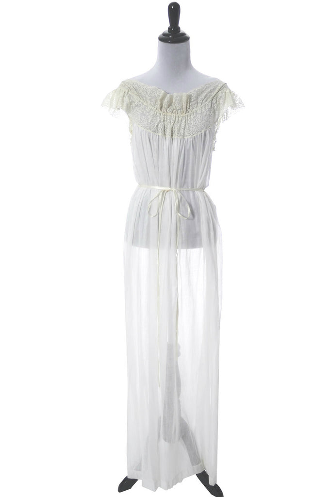 Iris Lingerie co. sheer cotton lace nightgown negligee
