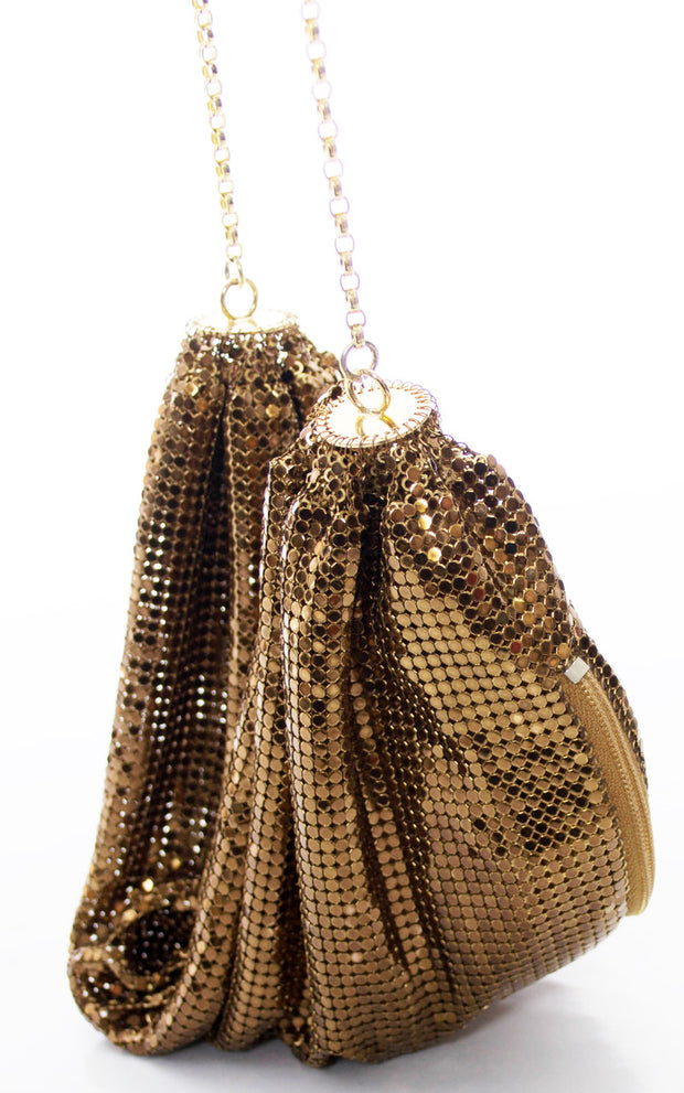 Vintage Whiting and Davis bronze mesh slouch bag Studio 54 chic - Dressing Vintage