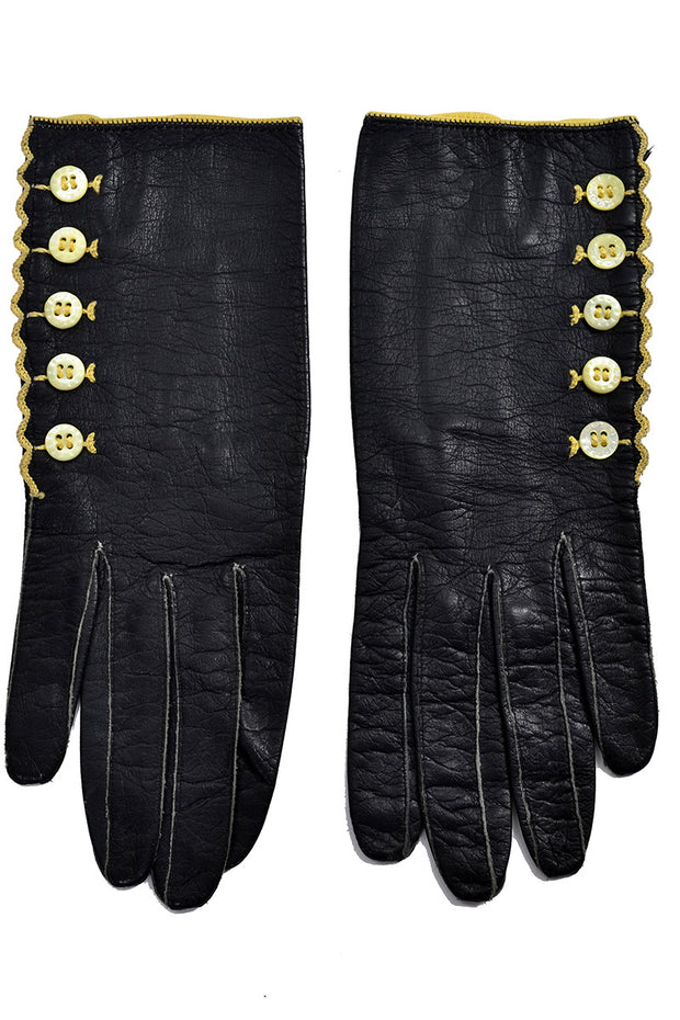 Black Leather Vintage Gloves Shell Buttons