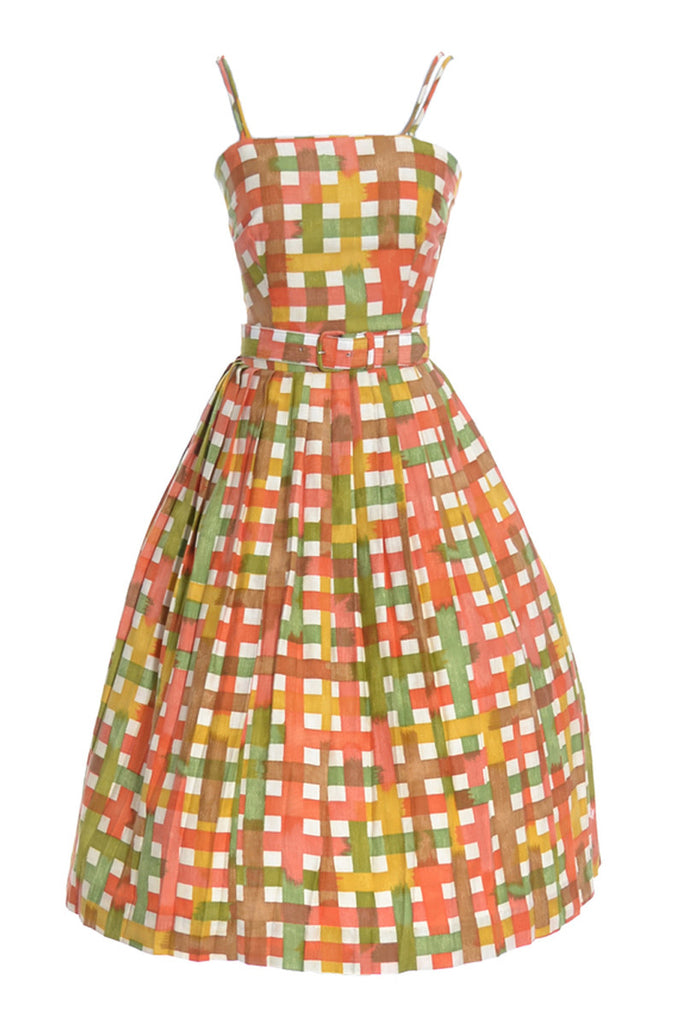 1960s plaid sun dress