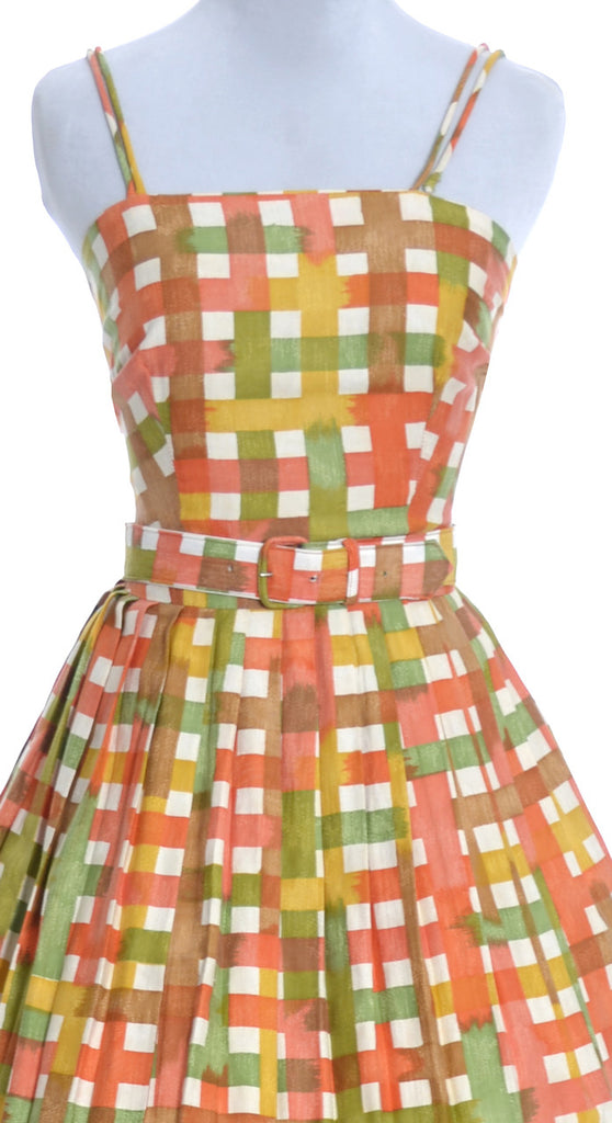 1960s vintage dress orange yellow plaid