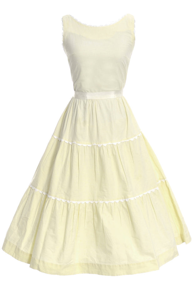 Betty Barclay Vintage Yellow Dress with White Trim - Dressing Vintage
