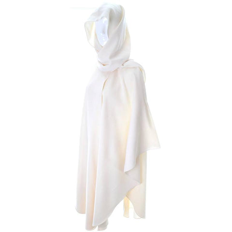 Vintage winter white holiday cloak with a wrapping hood