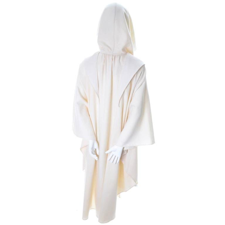 White wool hooded cape by designer Yeohlee
