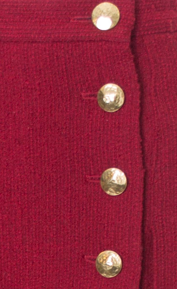 Yves Saint Laurent YSL Vintage Red Boucle Wool Skirt Buttons