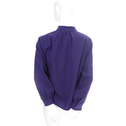 1970s Vintage YSL Yves Saint Laurent Purple Wool Peasant Blouse Top Rive Gauche