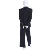 Back view of the late 1980's or early 1990's YSL Rive Gauche navy blue pinstripe wool and cashmere suit