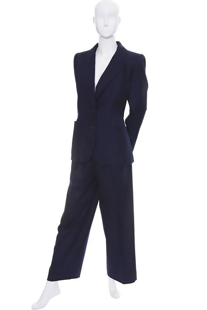 Midnight navy blue pantsuit with pinstripes