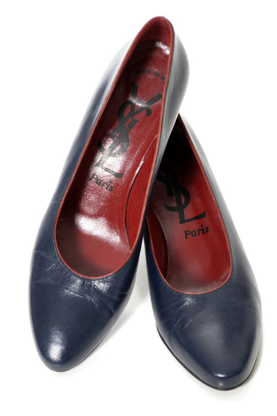 1970s Vintage Blue Leather YSL Designer Shoes Pumps 8.5 - Dressing Vintage