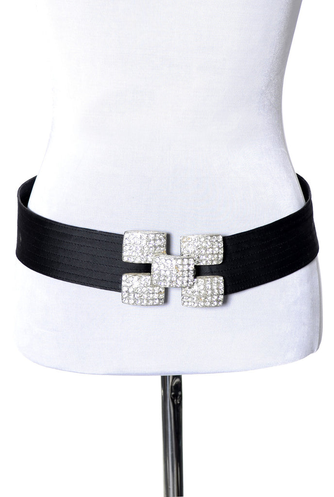 Vintage Yves Saint Laurent designer belt with rhinestone buckle