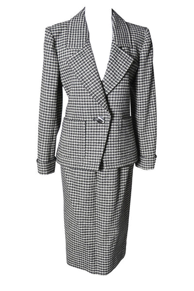 2 Pc YSL Yves Saint Laurent Rive Gauche Houndstooth Vintage Wool Suit - Dressing Vintage