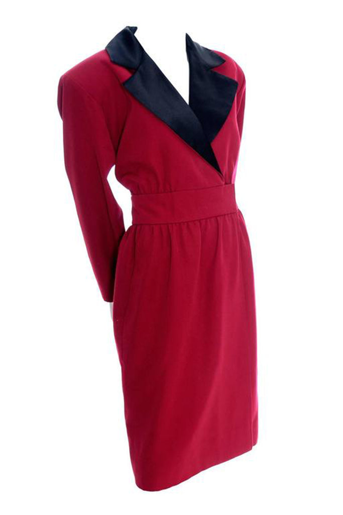Yves Saint Laurent red wool dress with black satin trim