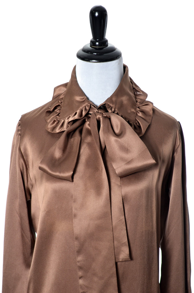 Brown Silk Blouse Vintage Yves Saint Laurent Rive Gauche