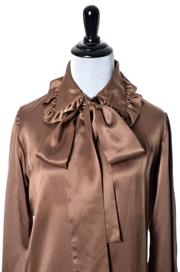 23155e6e52a11 Brown Silk Blouse Vintage Yves Saint Laurent Rive Gauche - Dressing Vintage