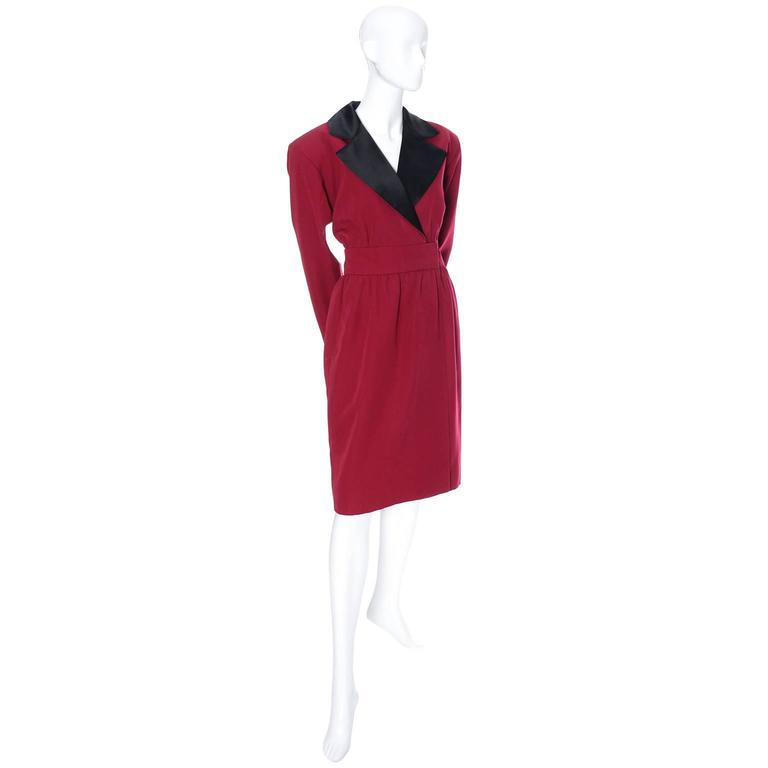 1980's YSL Rive Gauche red wool knee length dress with long sleeves and black satin lapels