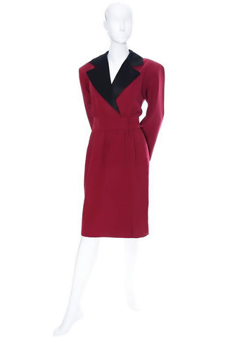 1980's vintage Yves Saint Laurent Rive Gauche red wool dress with black satin trim