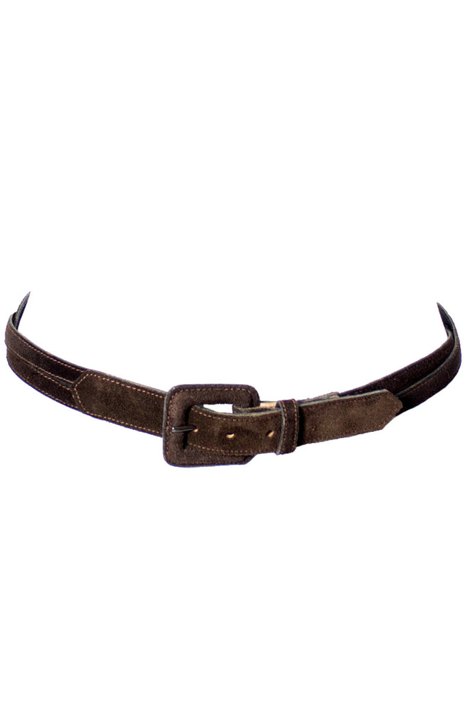 Vintage brown YSL leather belt at Dressing Vintage