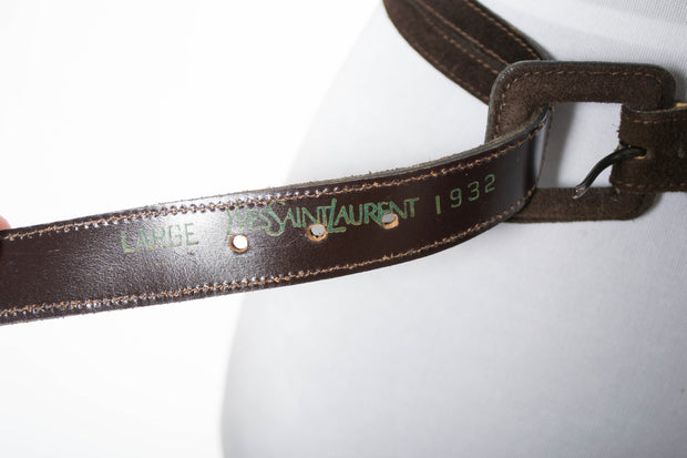 Vintage Yves Saint Laurent brown suede belt - Dressing Vintage